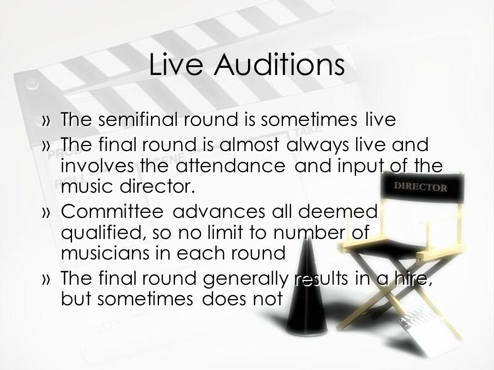 Live Auditions The semifinal round is sometimes live