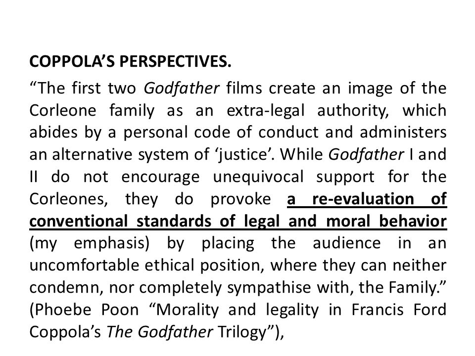 COPPOLA'S PERSPECTIVES