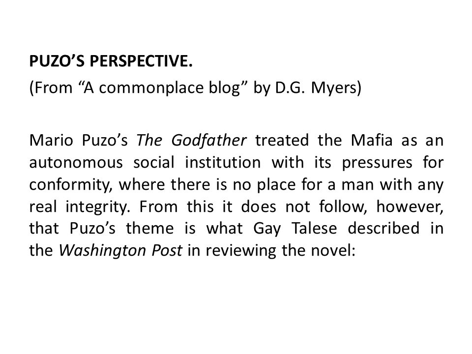 PUZO'S PERSPECTIVE. (From A commonplace blog by D. G