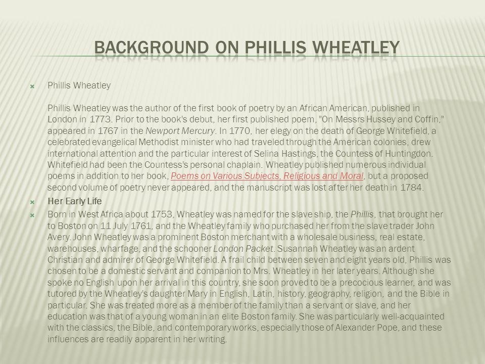 Background on Phillis Wheatley