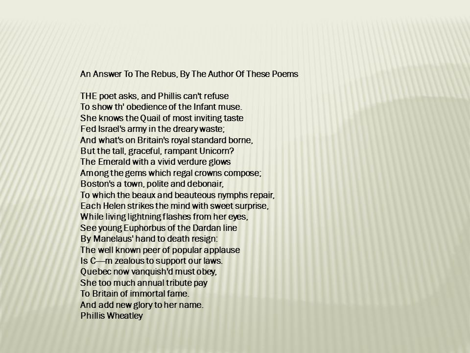 An Answer To The Rebus, By The Author Of These Poems