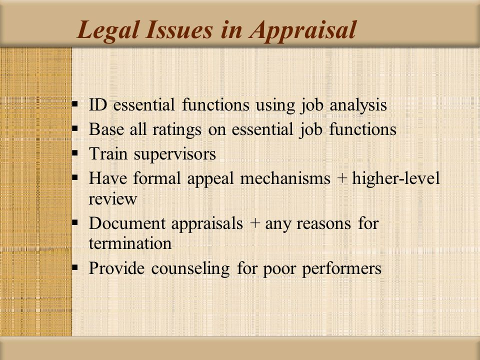 Legal Issues in Appraisal