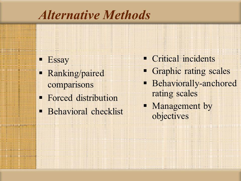 Alternative Methods Essay Ranking/paired comparisons
