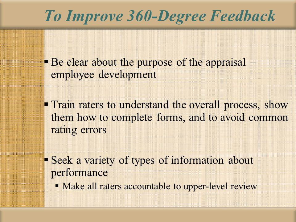 To Improve 360-Degree Feedback