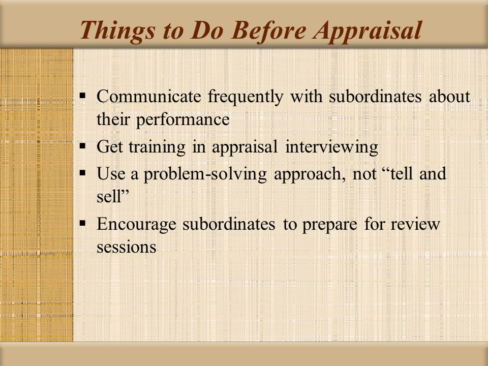 Things to Do Before Appraisal
