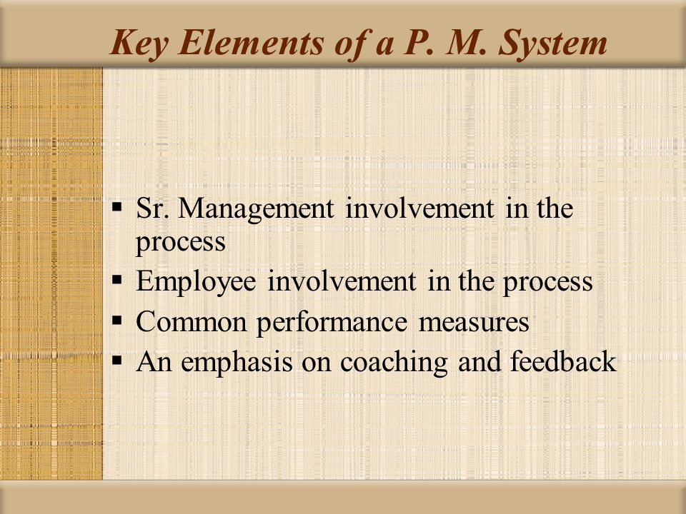 Key Elements of a P. M. System