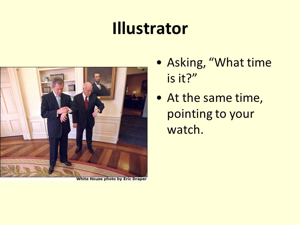 Illustrator Asking, What time is it
