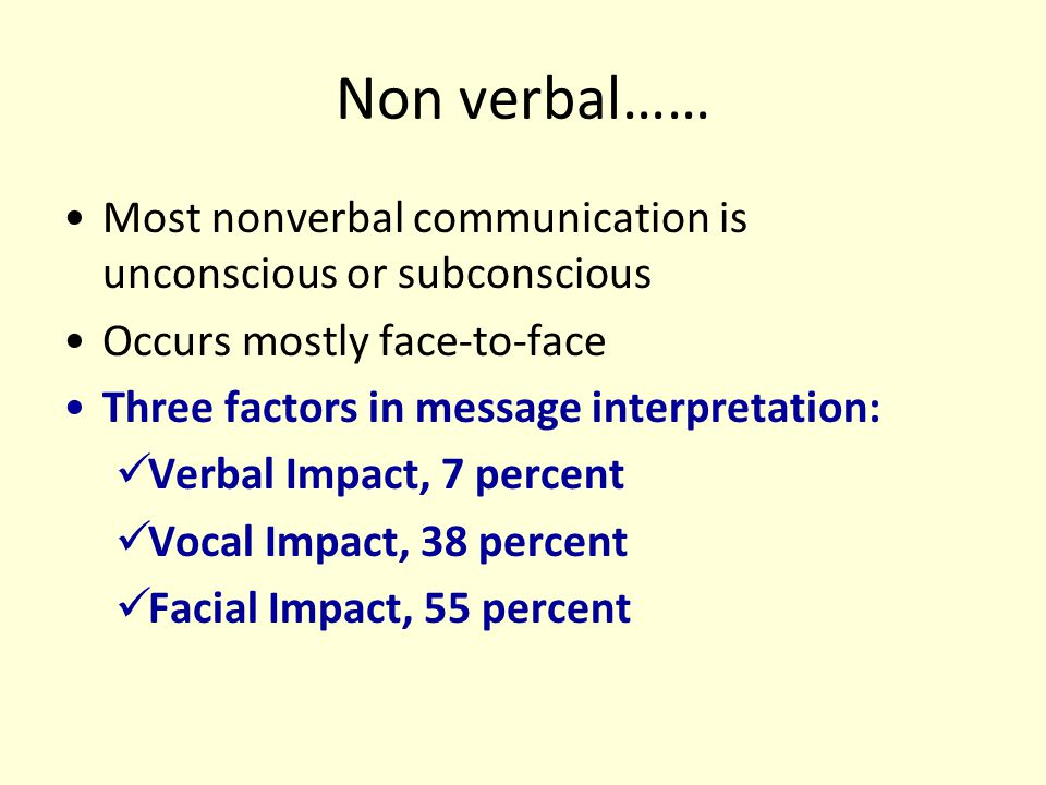 Non verbal…… Most nonverbal communication is unconscious or subconscious. Occurs mostly face-to-face.
