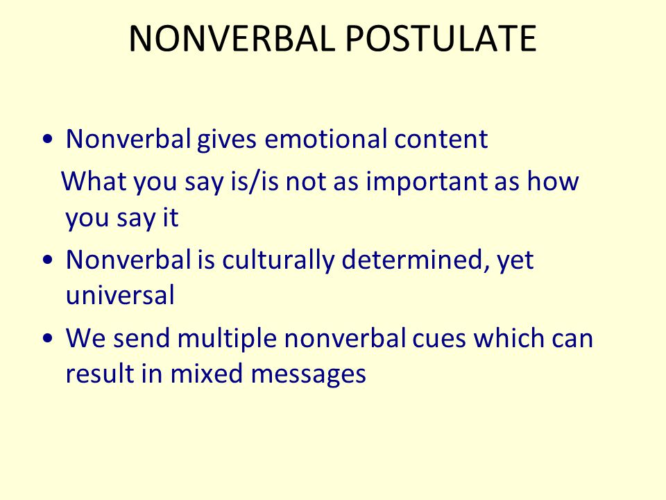 NONVERBAL POSTULATE Nonverbal gives emotional content
