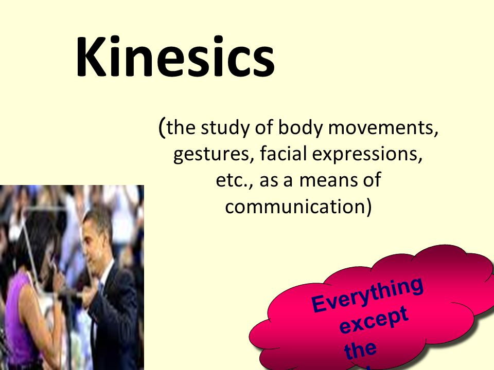Kinesics (the study of body movements, gestures, facial expressions, etc., as a means of communication)