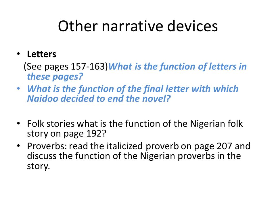 Other narrative devices
