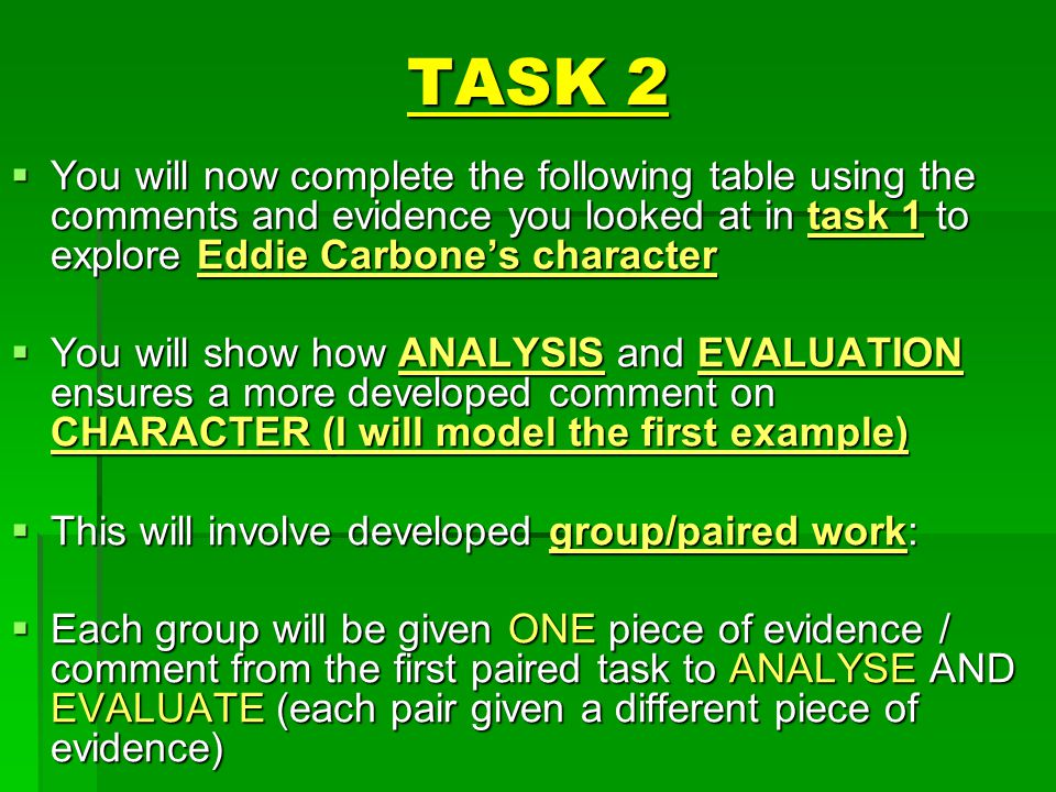 TASK 2 You will now complete the following table using the comments and evidence you looked at in task 1 to explore Eddie Carbone's character.