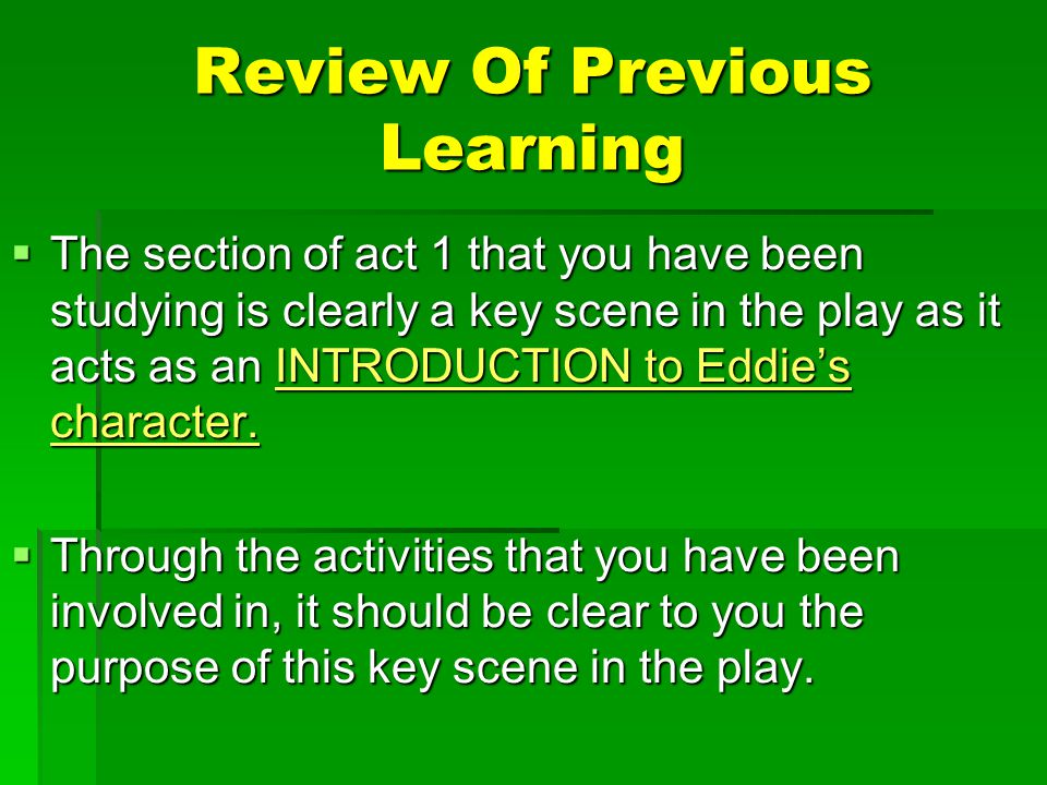 Review Of Previous Learning