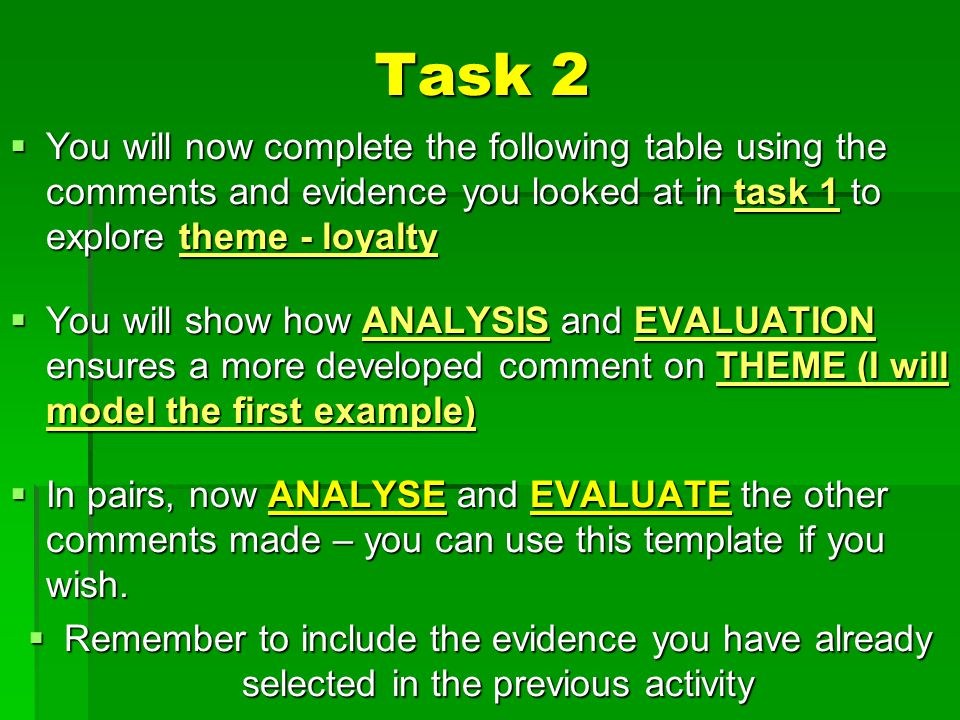 Task 2 You will now complete the following table using the comments and evidence you looked at in task 1 to explore theme - loyalty.
