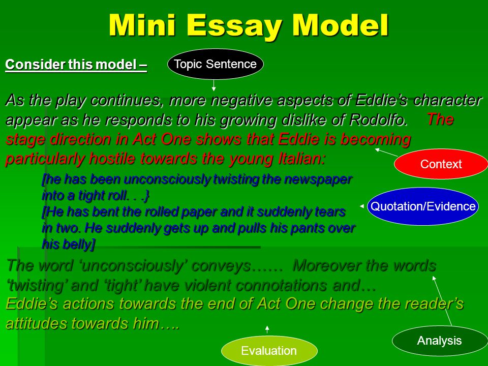 Mini Essay Model Topic Sentence. Consider this model –