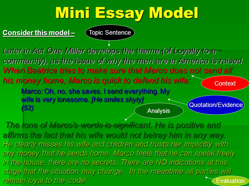 Mini Essay Model Topic Sentence. Consider this model –