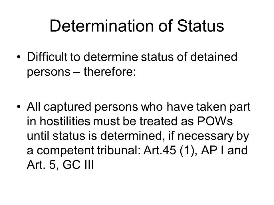 Determination of Status