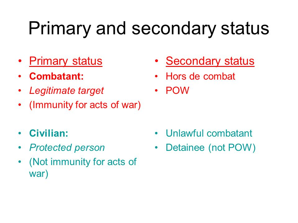 Primary and secondary status