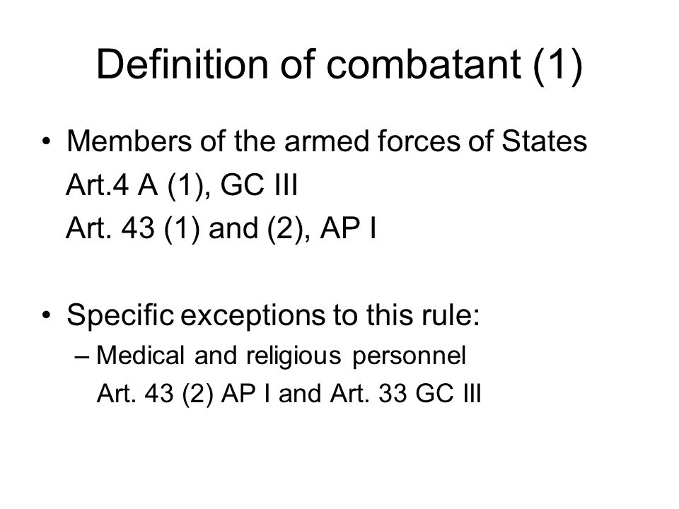 Definition of combatant (1)