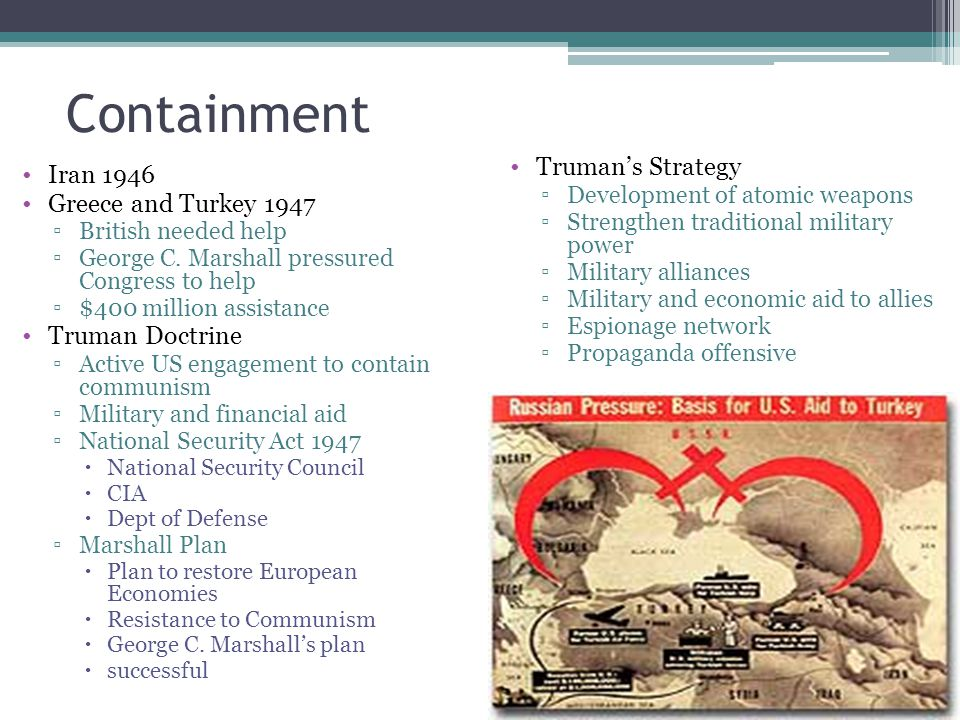 Containment Truman's Strategy Iran 1946 Greece and Turkey 1947