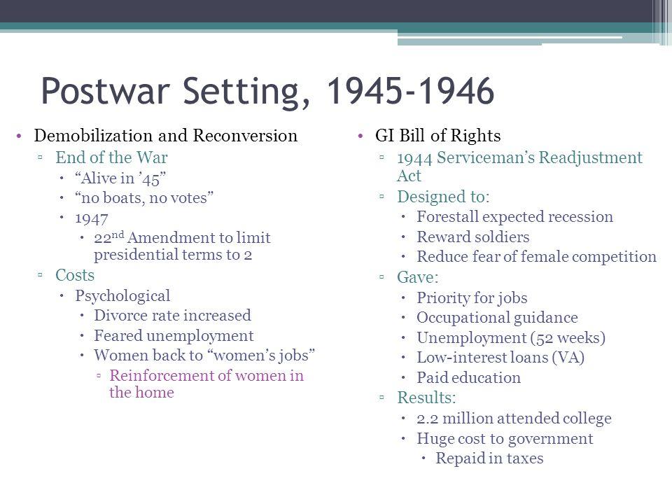 Postwar Setting, 1945-1946 Demobilization and Reconversion