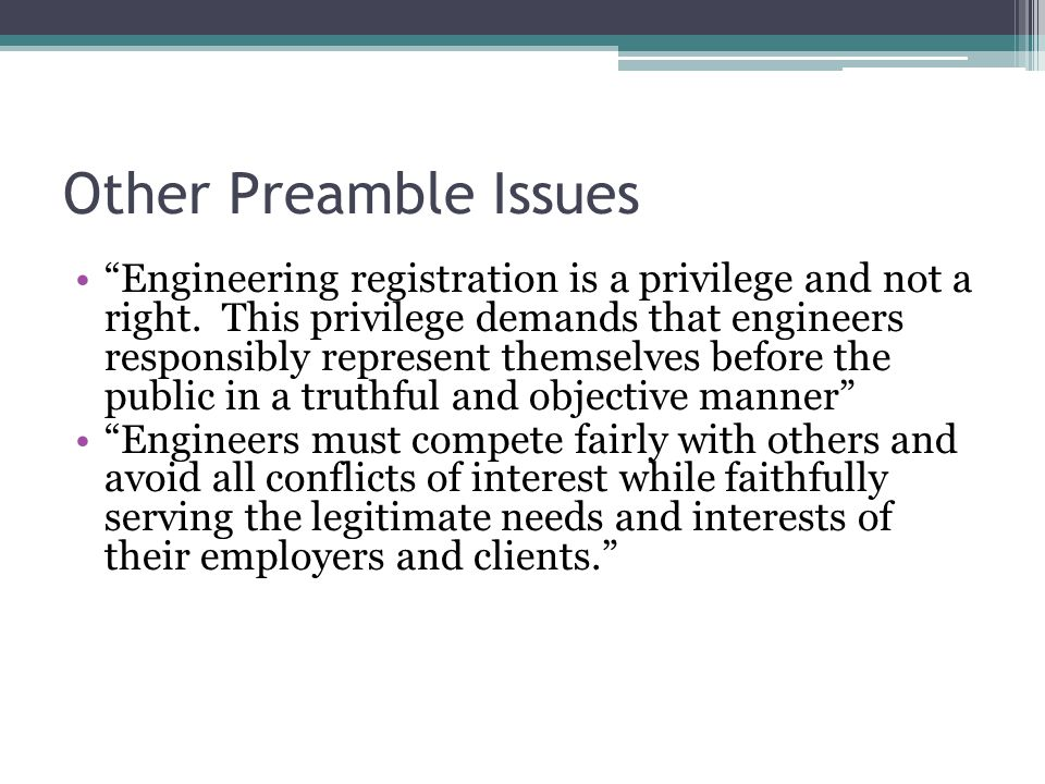 Other Preamble Issues