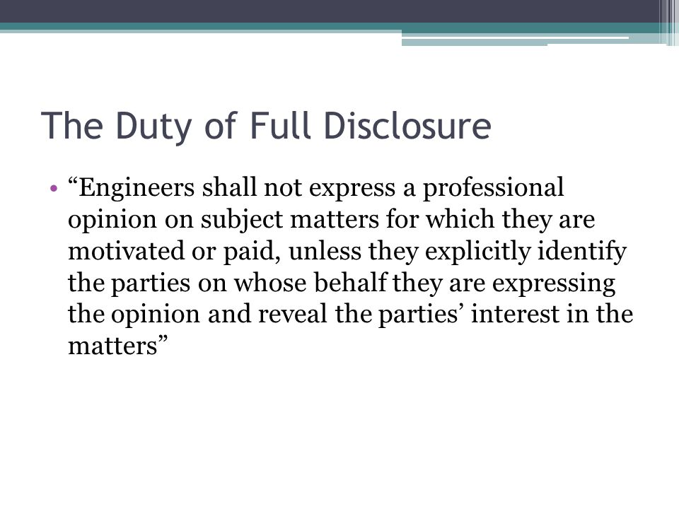 The Duty of Full Disclosure