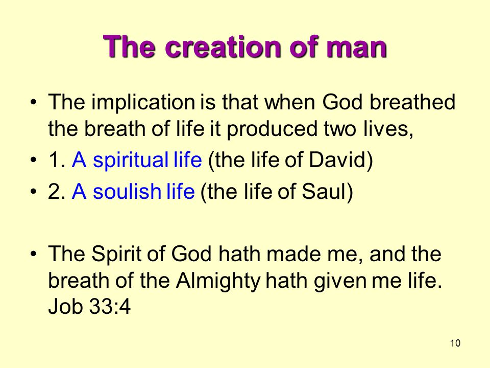 The creation of man The implication is that when God breathed the breath of life it produced two lives,