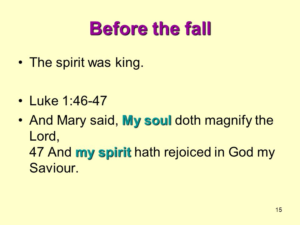 Before the fall The spirit was king. Luke 1:46-47