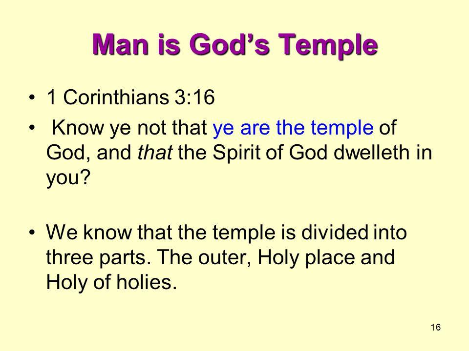 Man is God's Temple 1 Corinthians 3:16