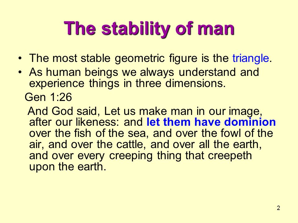 The stability of man The most stable geometric figure is the triangle.