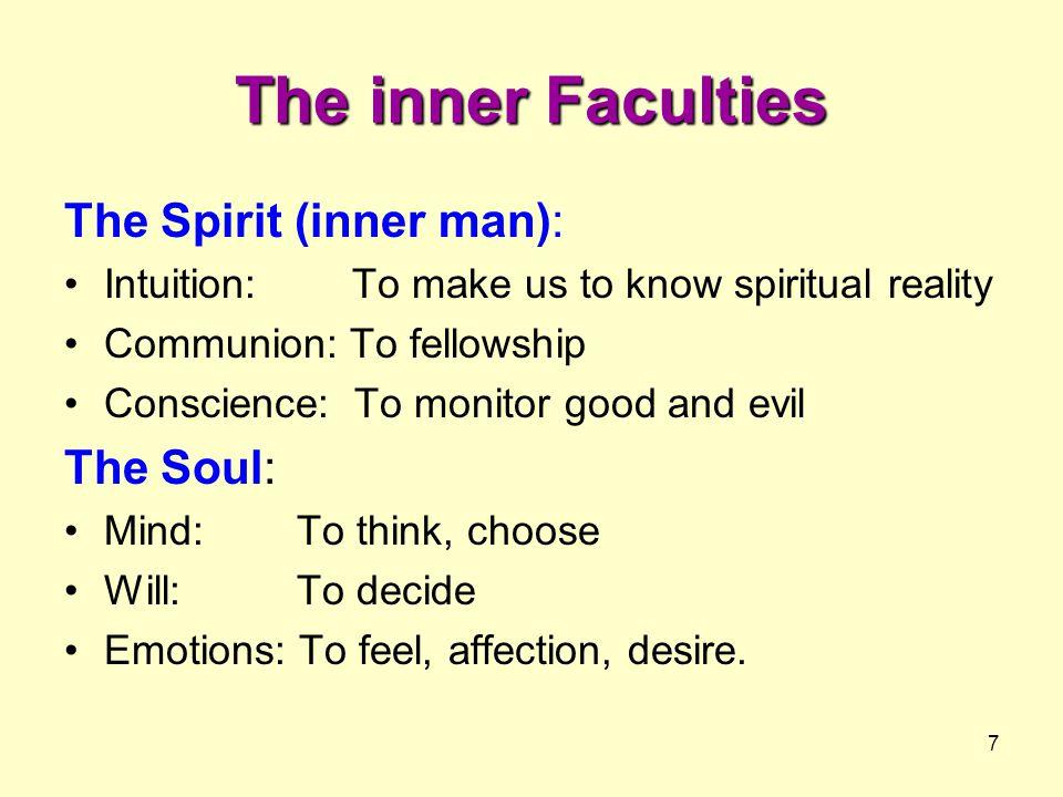 The inner Faculties The Spirit (inner man): The Soul: