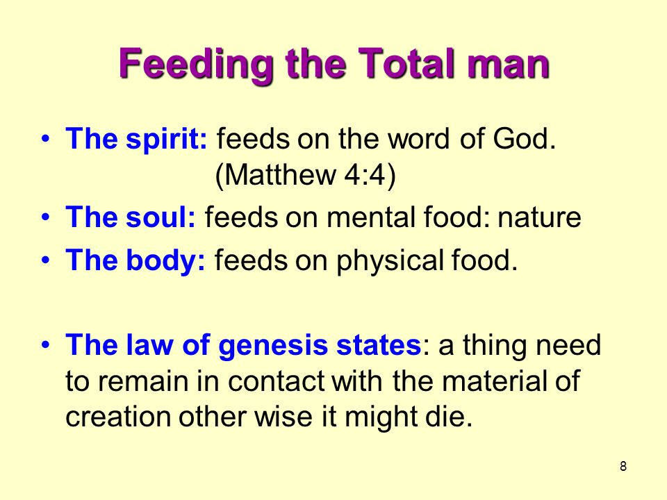 Feeding the Total man The spirit: feeds on the word of God. (Matthew 4:4) The soul: feeds on mental food: nature.