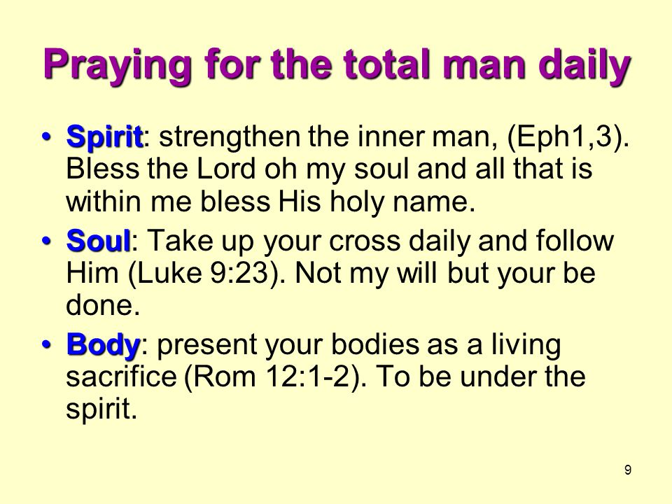 Praying for the total man daily