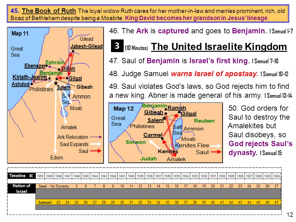 3 46. The Ark is captured and goes to Benjamin. 1 Samuel 1-7