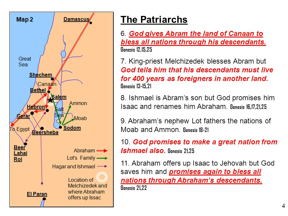 The Patriarchs 6. God gives Abram the land of Canaan to bless all nations through his descendants. Genesis 12,15,25.