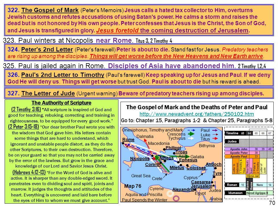 323. Paul winters at Nicopolis near Rome. Titus 3, 2 Timothy 4