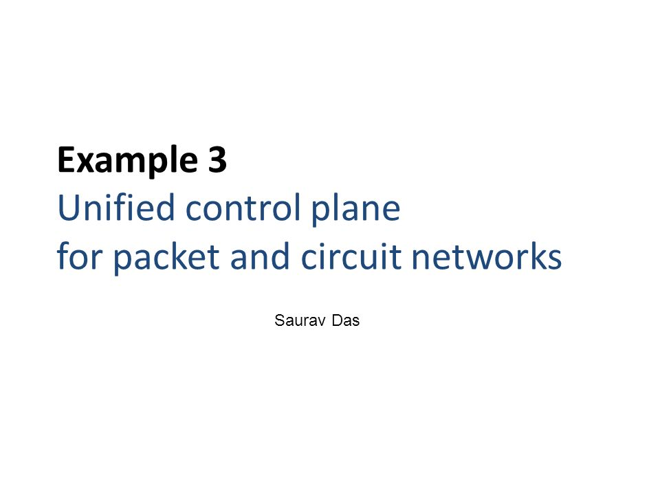 Example 3 Unified control plane for packet and circuit networks