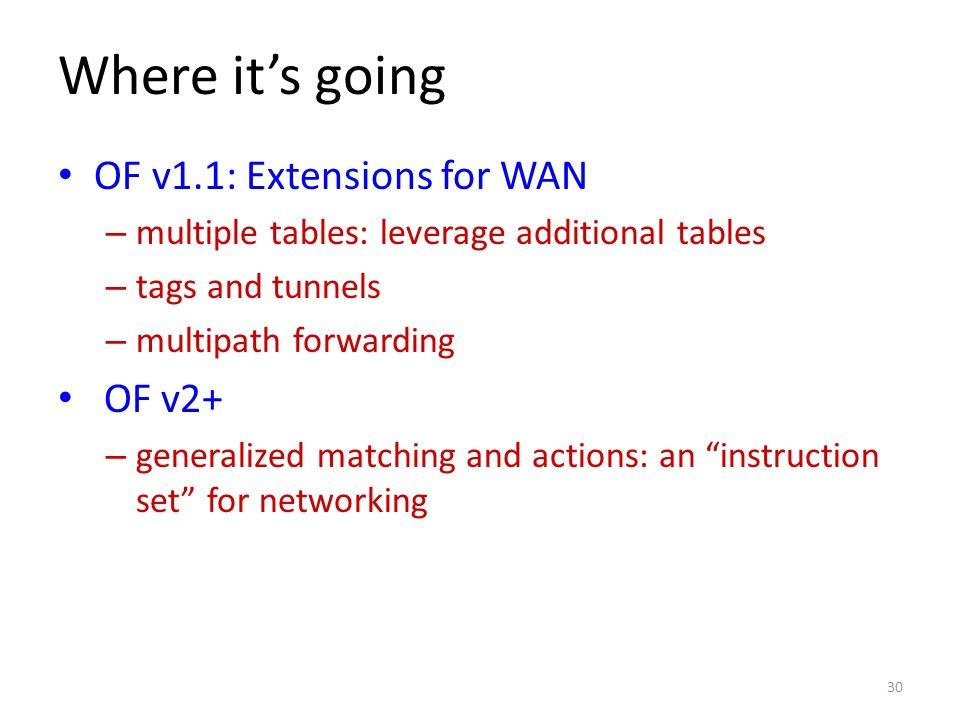 Where it's going OF v1.1: Extensions for WAN OF v2+