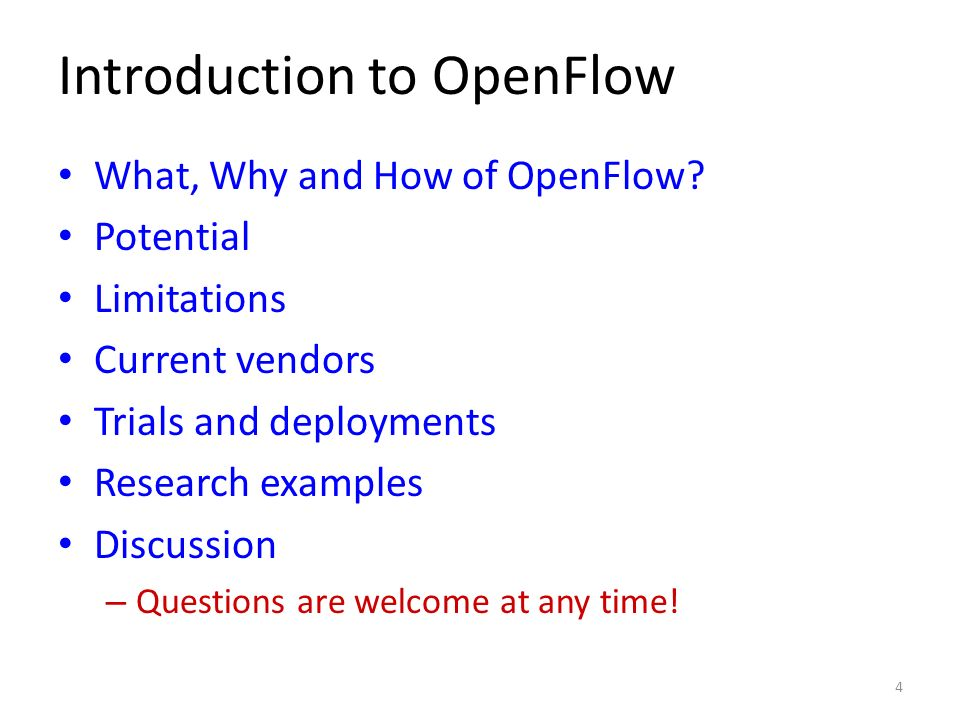 Introduction to OpenFlow