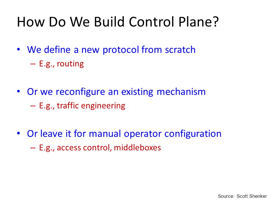 How Do We Build Control Plane