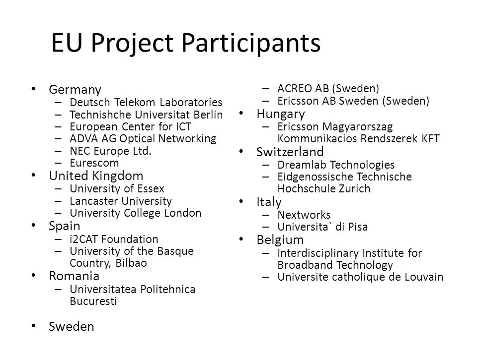 EU Project Participants