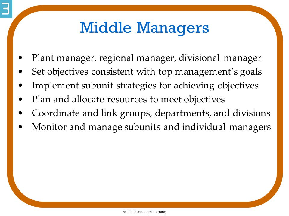 Middle Managers Plant manager, regional manager, divisional manager