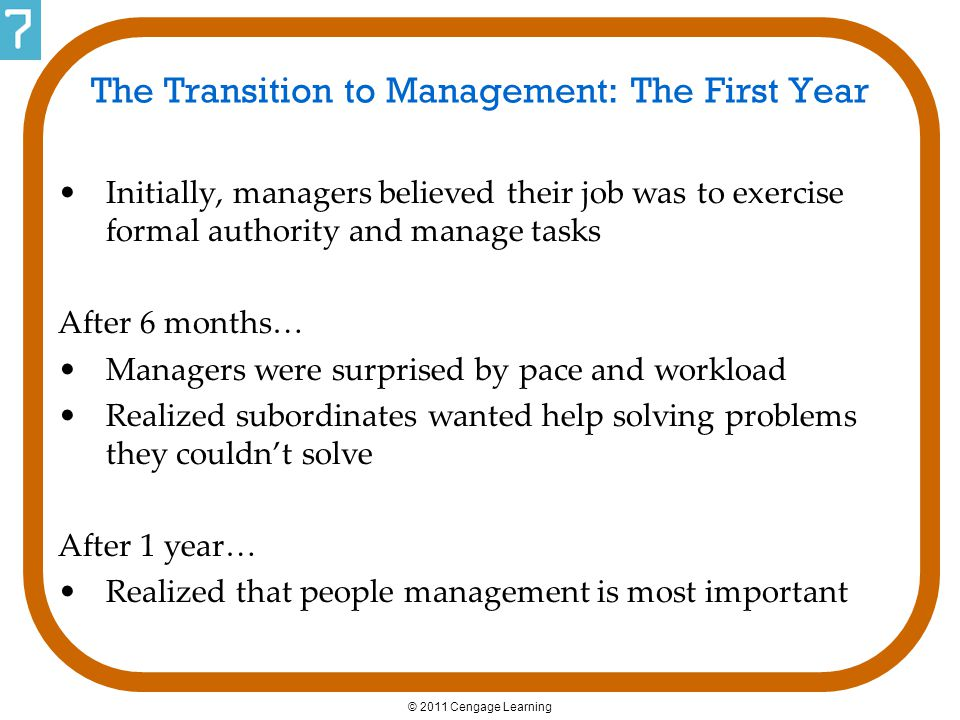 The Transition to Management: The First Year