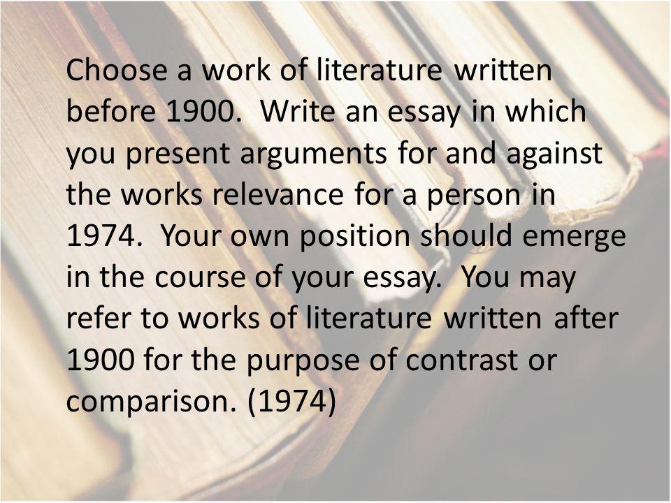Choose a work of literature written before 1900