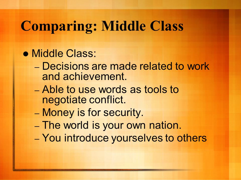Comparing: Middle Class
