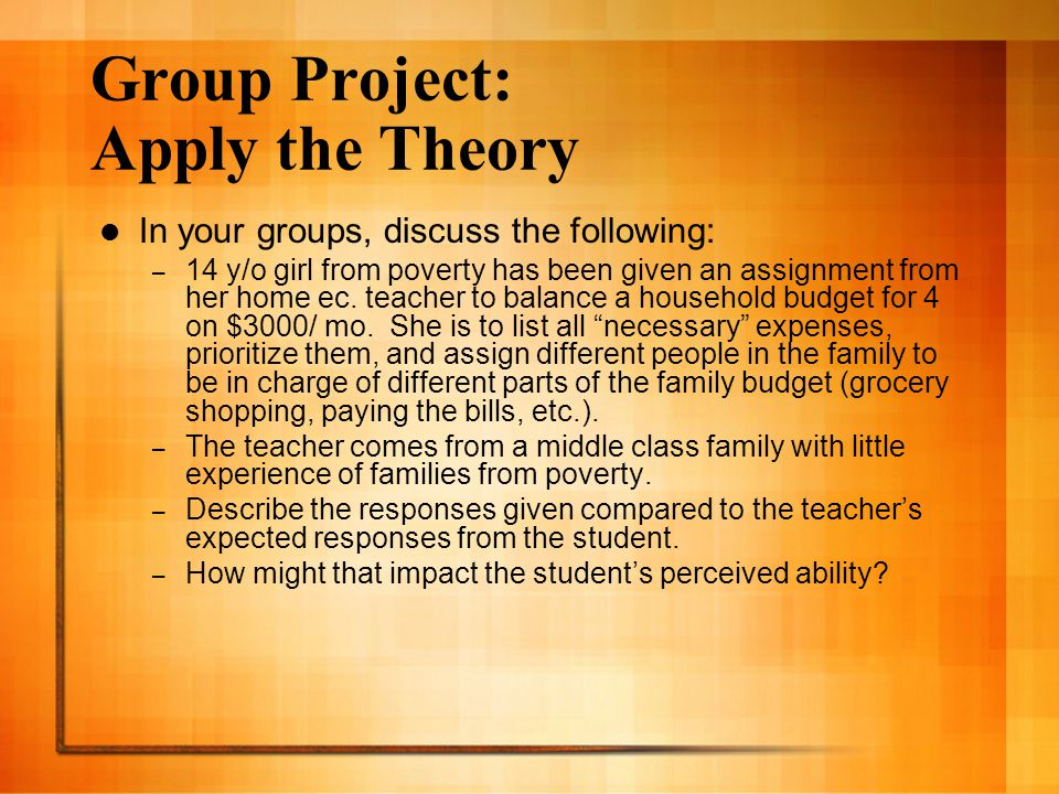 Group Project: Apply the Theory