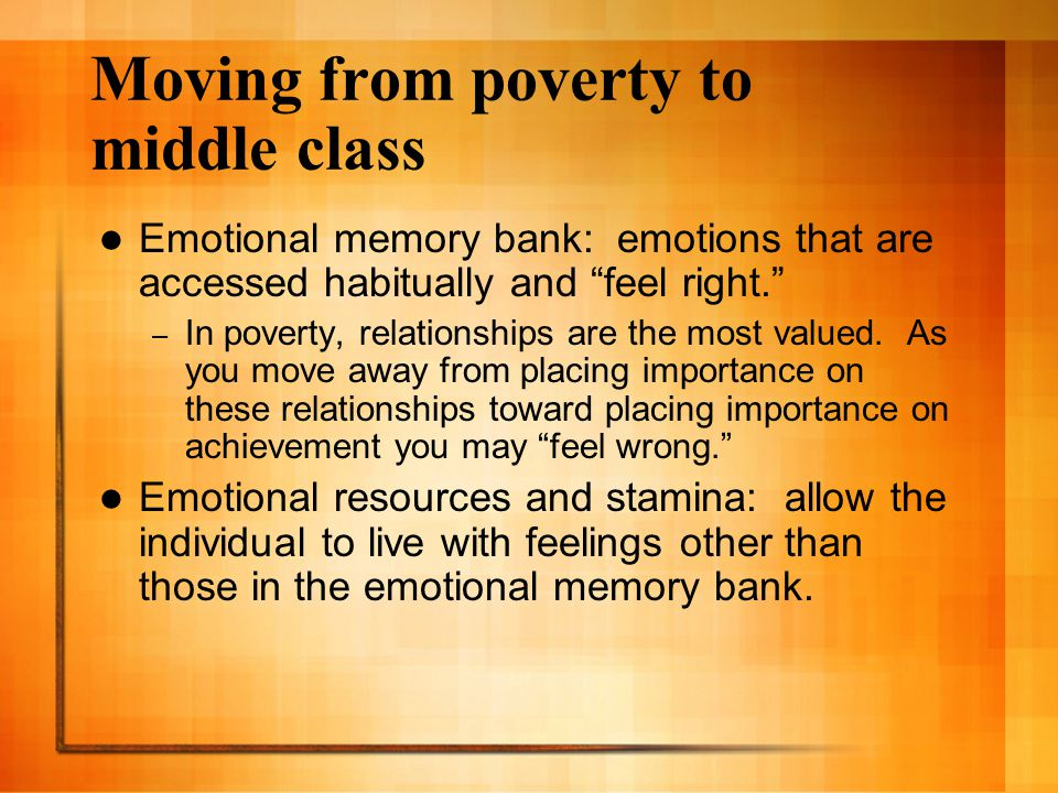 Moving from poverty to middle class