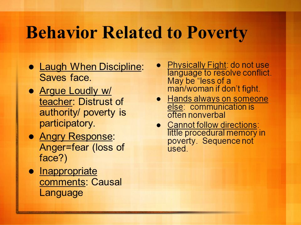 Behavior Related to Poverty