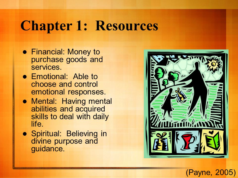 Chapter 1: Resources Financial: Money to purchase goods and services.